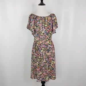 WAREHOUSE LONDON black floral silk dress ruffled